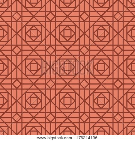 Geometric linear red retro pattern with rhombus and square shapes. Vector illustration