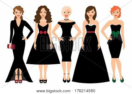 Young woman in different black dresses vector illustration. Black fashion female model portrait isolated on white background