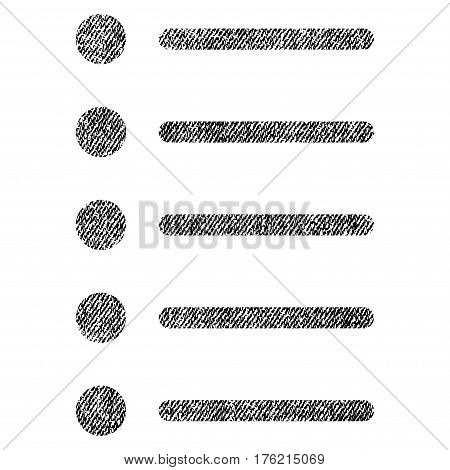 Items vector textured icon for overlay watermark stamps. Fabric black vectorized texture. Symbol with dust design. Rubber seal stamp with fiber textile structure.