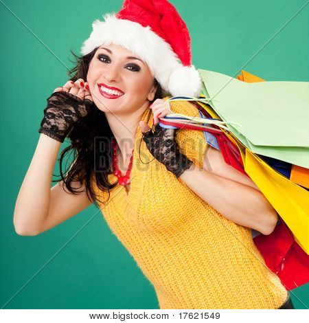 Fun santa woman with color packages
