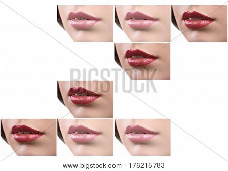 Set of beautiful sexy lips of a woman with full plump lips covered with red and pink lipstick isolated on white copyspace romantic flirtatious sexuality seductive beauty cosmetics concept.