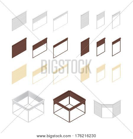Set of isometric roller shutters for shops isolated on white background. 3D boxes of rolling shutters. Set blinds in different colors. Vector illustration.