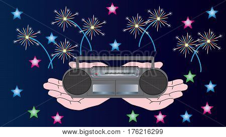 Human hands hold a portable tape recorder against the background of stars and fireworks.