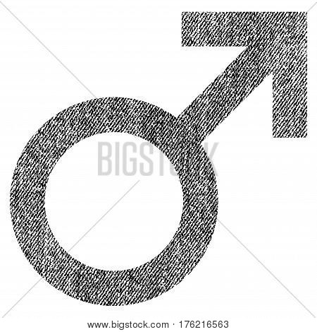 Male Symbol vector textured icon for overlay watermark stamps. Fabric black vectorized texture. Symbol with unclean design. Rubber seal stamp with fiber textile structure.
