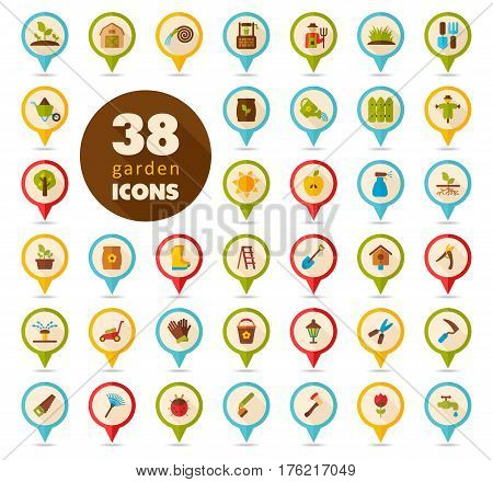 Garden Farm flat vector pin map icon. Map pointer. Map markers eps 10