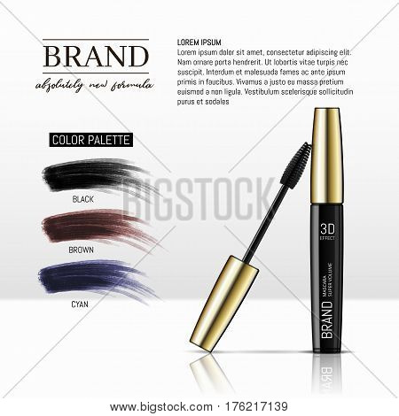 Luxury mascara ads, black and gold package with eyelash applicator brush with mascaras stroke palette isolated on white background. Vector 3d realistic illustratrion. poster