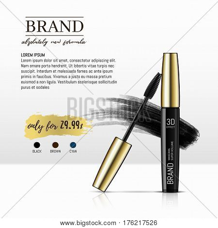 Luxury mascara ads, black and gold package with eyelash applicator brush with mascaras stroke palette isolated on white background. Vector 3d realistic illustratrion.