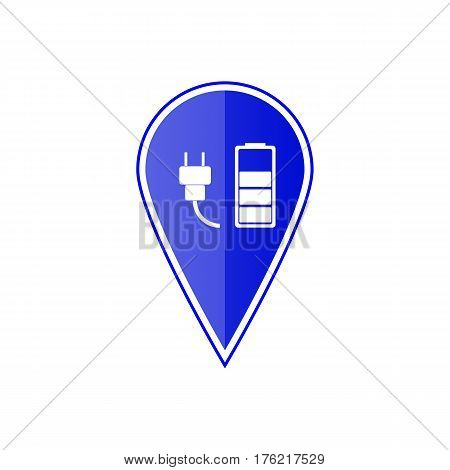 Blue map pointer with car charge station on the white background. Vector design