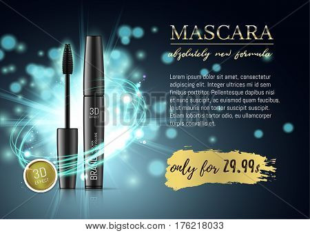 Luxury mascara ads, black and blue package with eyelash applicator brush with mascaras stroke on VIP shine glitter background. Vector 3d realistic illustratrion.