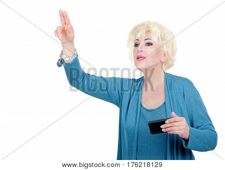 Delightful blonde hair adult woman in blue cardigan catching taxi. Mid-shot horizontal portrait on white background