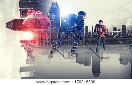 Hockey players on ice . Mixed media