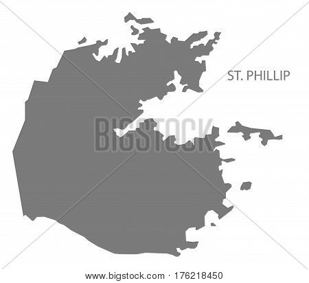 St. Phillip Antigua And Barbuda Map Grey Illustration Silhouette