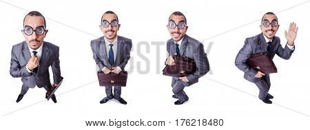 Funny nerd businessman isolated on white