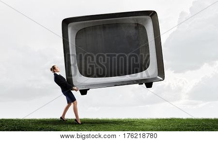 Woman and TV monitor . Mixed media
