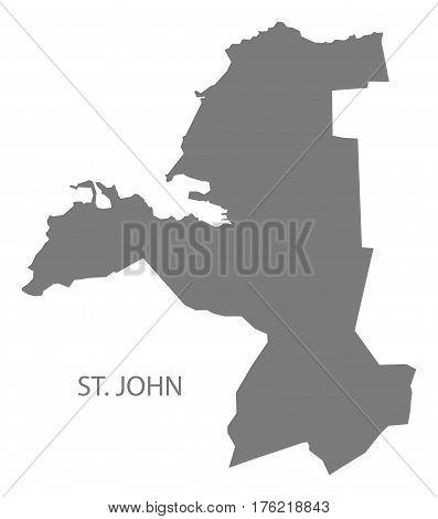 St. John Antigua And Barbuda Map Grey Illustration Silhouette