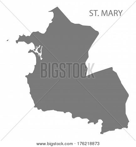 St. Mary Antigua And Barbuda Map Grey Illustration Silhouette