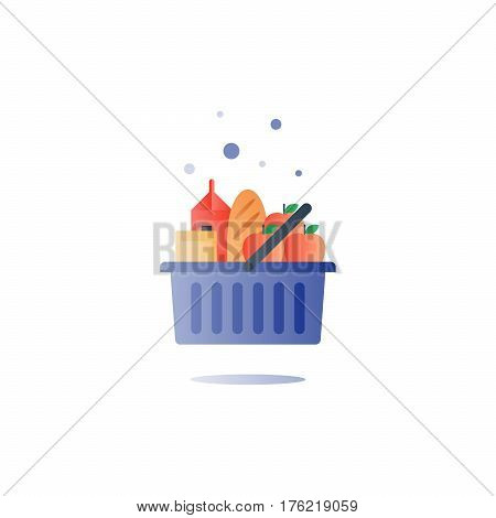 Full basket of food, grocery shopping, consumption products, special offer sign, sale symbol, vector flat design icons set