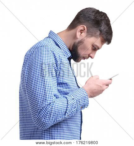Posture concept. Man using smartphone against white background