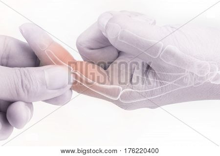 finger bone pain white background finger injury
