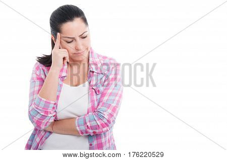 Young Pensive Woman Looking For Solution