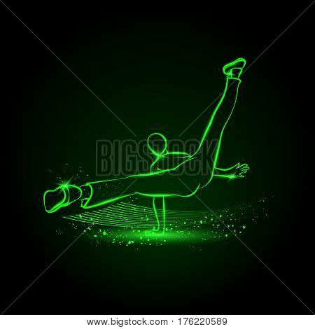 Cool street dancer. Break dance vector neon illustration.