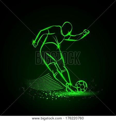 Tricky kick by soccer player. Vector neon illustration.