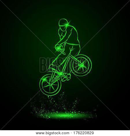 Trick on the BMX bike. Vector neon illustration.