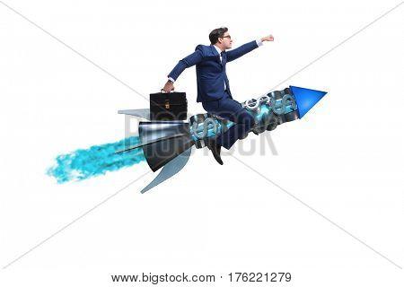 Businessman flying on rocket isolated on white