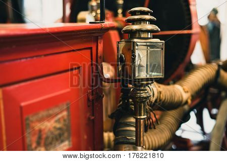 Close-up Of Lantern On Old Fire Truck.