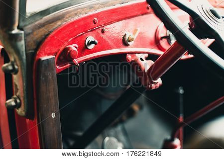 Dashboard With Switches Of Old Fire Truck.