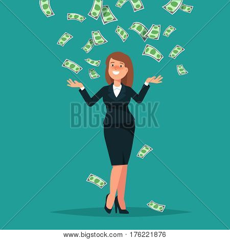 Vector illustration of happy businesswoman celebrates success standing under money rain banknotes cash falling on blue background. Concept of success achievement wealth flat style