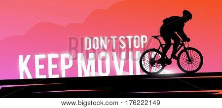 Vector sports web banner. Motivational concept. The silhouette of the biker. Mountain biking. Man biker. Extreme sports.