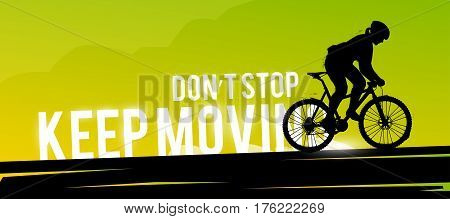 Vector sports web banner. Motivational concept. The silhouette of the biker. Mountain biking. Woman biker. Extreme sports.