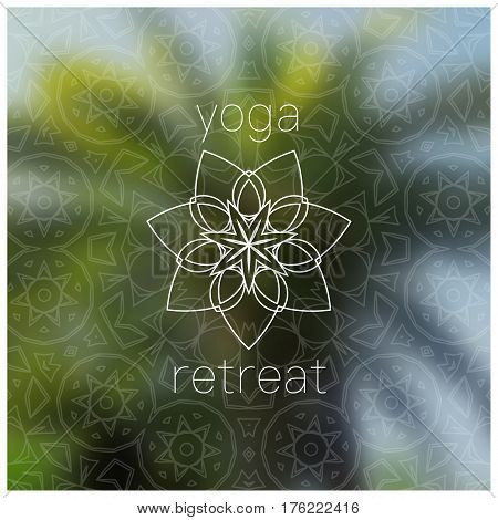 Tropical yoga retreat banner. Sacred geometry mandala on realistic tropic background. Sunny jungle. Good for yoga studio, tantra or meditation resort, flyer, invitation. Vector EPS10 illustration.