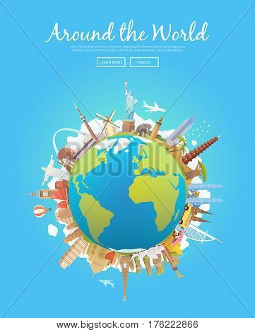 Travel to World. Road trip. Tourism. Landmarks on the globe. Concept website banner. Vector illustration. Modern flat design.