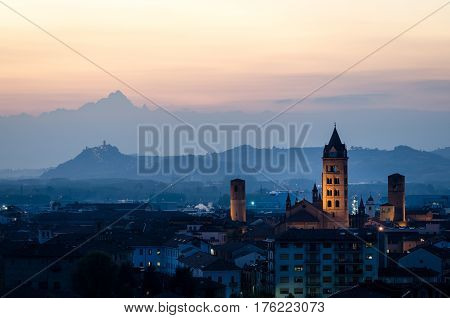 Alba and Monviso Le Langhe at sunset
