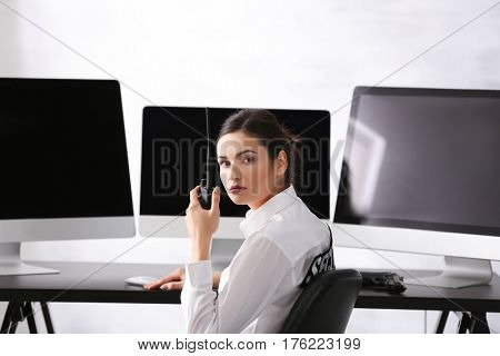 Female security guard on workplace