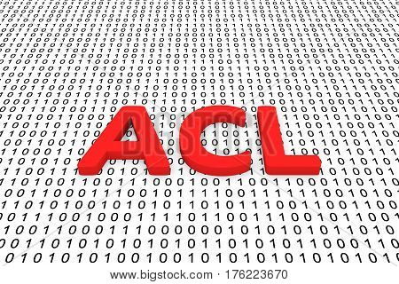 acl is presented in the form of binary code 3d illustration