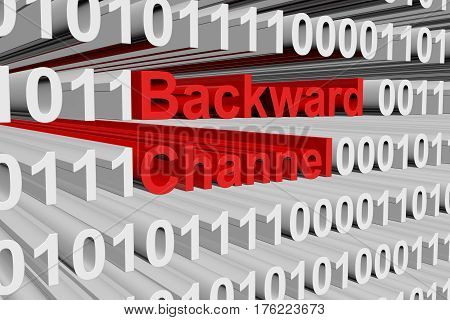 Backward channel in the form of binary code, 3D illustration