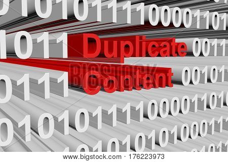 Duplicate content in the form of binary code, 3D illustration