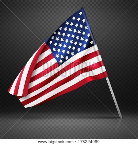 American banner wavy flying flag, USA flag isolated on transparent background vector illustration. American national flag, country usa wavy flag