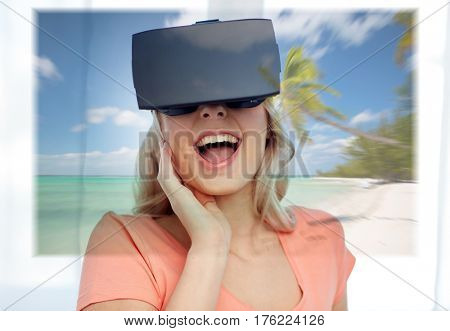 technology, augmented reality, cyberspace, entertainment and people concept - happy amazed young woman wearing virtual headset or 3d glasses with exotic tropical beach projection