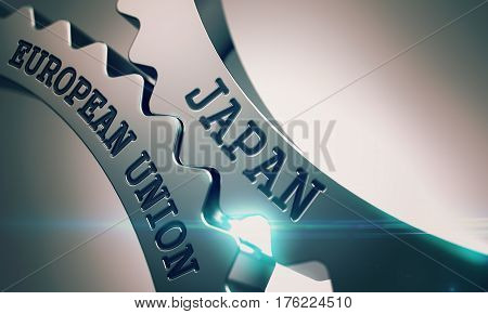 Japan European Union on the Mechanism of Metal Cogwheels. Interaction Concept in Industrial Design. Japan European Union Shiny Metal Gears - Business Concept. with Glow Effect. 3D.