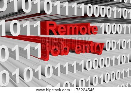 remote job entry as a binary code 3D illustration