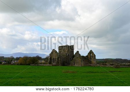 Dark clouds circling around the ruins of Hore Abbey.
