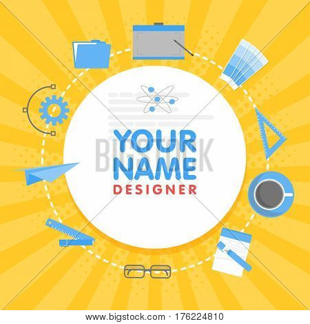 Social Network Designer Avatar. Place For Your Name. Template Of The Artist Portfolio, Banners, Anno