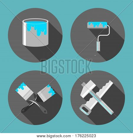 Tools for repair, paint brush, paint cans, saw, hammer, roller, flat style, vector illustration