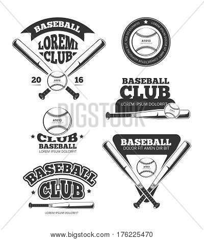 Vintage baseball sports, old vector logos and labels set with bats and softball. Sport badge for baseball club, illustration of emblem for baseball team