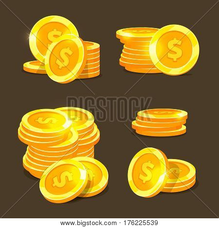 Gold coins vector icons, golden coins stacks and heaps. Illustration of finance coins dollar