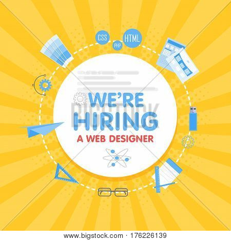 We Hire A Web Designer. Megaphone Concept Vector Illustration. Banner Template, Ads, Search For Empl